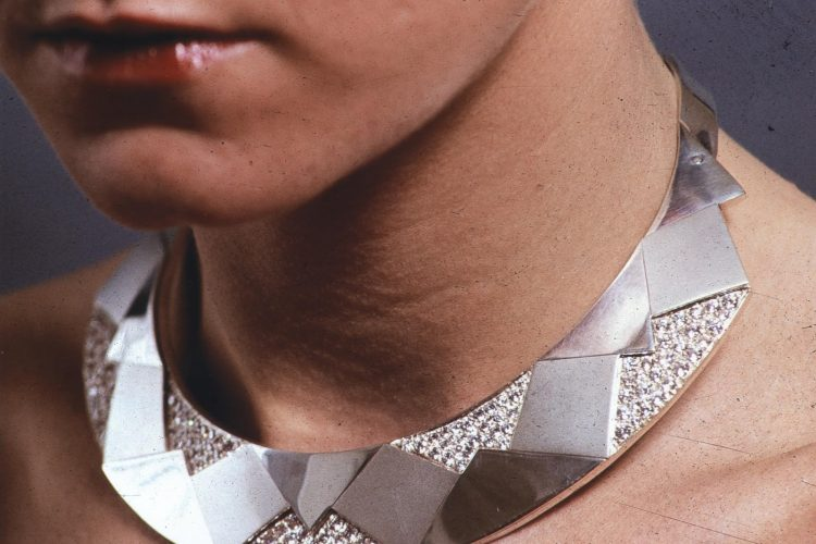 silver collar with 146 pave set cz stones